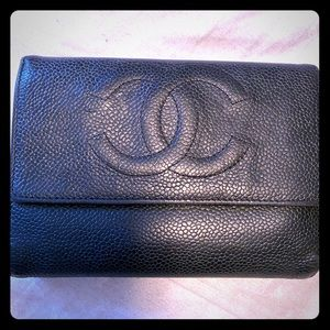 Authentic Chanel Black Caviar Leather Wallet.